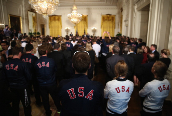 Caitlin Cahow led the US team at Sochi 2014 which was honoured afterwards at a special ceremony in the White House ©Getty Images