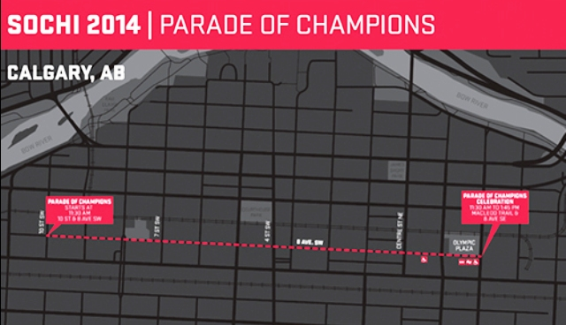 Canadian athletes will take part on the Sochi 2014 Parade of Champions in Calgary ©COC/CPC