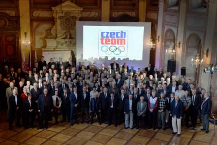 Former Czechoslovakian athletes attending the ceremony in Prague ©Czech Olympic Committee