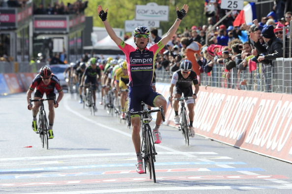 Diego Ulissi celebrates as he wins the fifth leg of the Giro D'Italia ©AFP/Getty Images