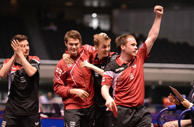 England's men ensured their return to the ITTF World Team Championship's top division with victory over Slovakia today ©ITTF