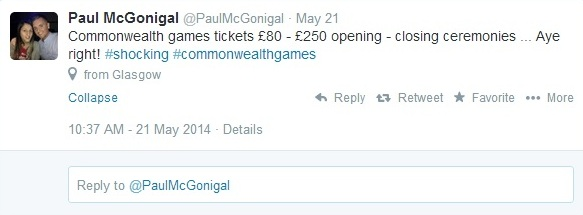 Fans have shown their frustration at the high tickets prices for some events at the Glasgow 2014 Commonwealth Games ©Twitter