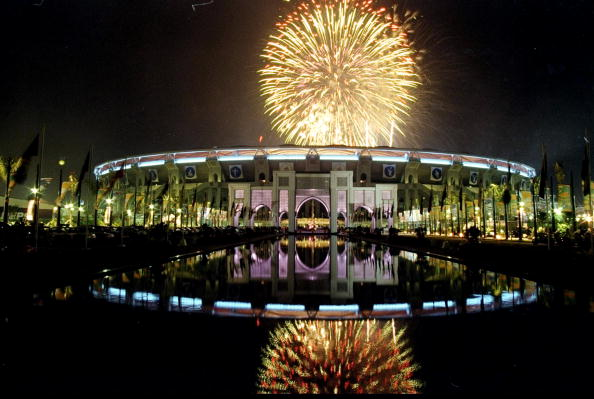 Fireworks above the Bukit Jalil National Stadium in Kuala Lumpur 1998 ©Getty Images