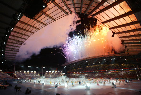 Fireworks lit up the sky as Manchester welcomed the Commonwealth in 2002 ©AFP/Getty Images