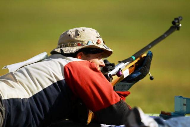 Gareth Goodwin will be taking aim for the Falkland Islands at the Barry Buddon Shooting Centre during this summer's Glasgow 2014 Commonwealth Games ©Getty Images