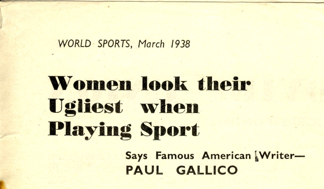 This headline, published in World Sport in 1938, showed just how far there was to go to achieve sporting equality ©World Sport
