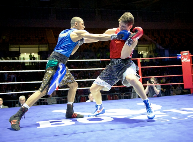 Lewis Benson (left) secured his place on Team Scotland by defeating Connor Law in a box-off last Saturday ©Boxing Scotland/ Rebecca Lee