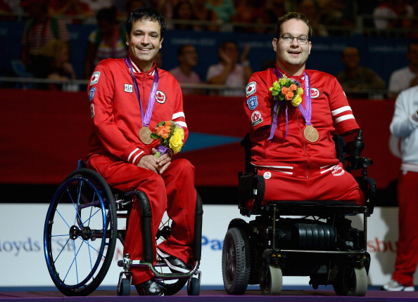 London 2012 mixed pairs champion Marco Dispaltro (left) provided a boost for the home fans in Montreal ©Getty Images