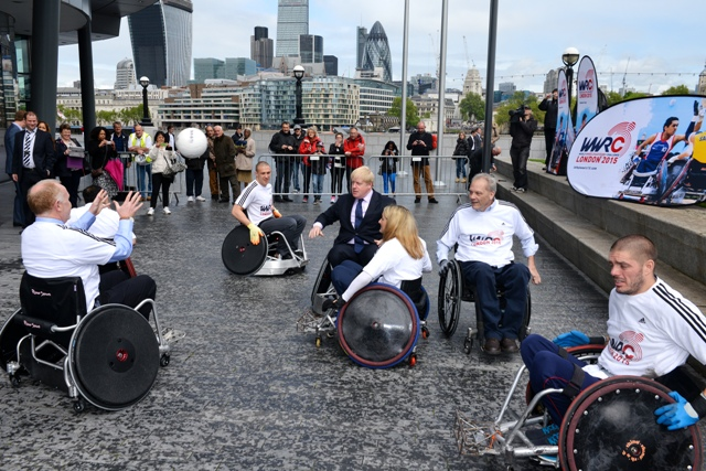 London Mayor Boris Johnson takes part in a game of wheelchair rugby at the launch of the 2015 World Wheelchair Rugby Challenge ©Leo Wilkinson/GBWR