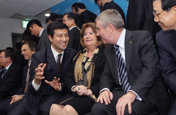 Moon Dae-sung pictured with IOC President Thomas Bach and Pyeongchang 2018 Coordination Commission head Gunilla Lindberg in 2013 ©Getty Images