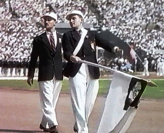Nestor Jacono, pictured alongside Flagbearer Alfred Zammit Cutajar in the Opening Ceremony at Wembley Stadium, was the sole competitor to represent Malta at London 1948 ©Facebook