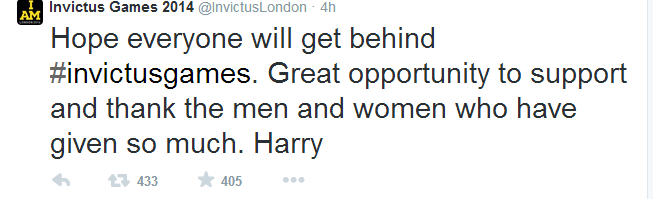 Prince Harry's landmark first Twitter message this morning ©Twitter