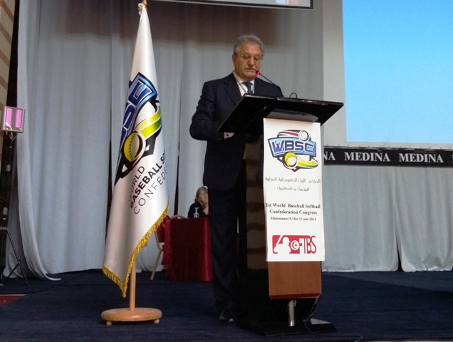 Riccardo Fraccari addresses the inaugural WBSC Congress as sole President for the first time ©WBSC