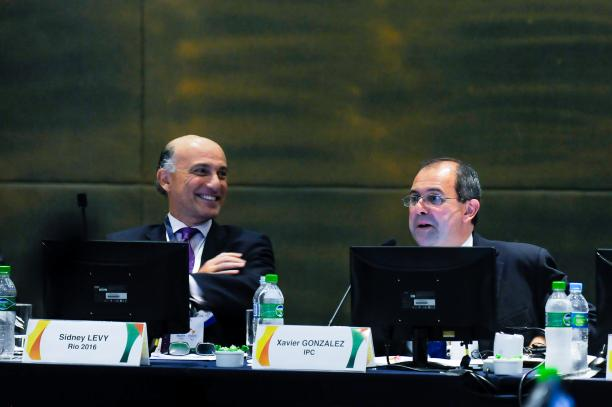 Rio 2016 and IPC chief executives Sidney Levy and Xavier Gonzalez during the Project Review meeting ©Rio 2016/Alex Ferro