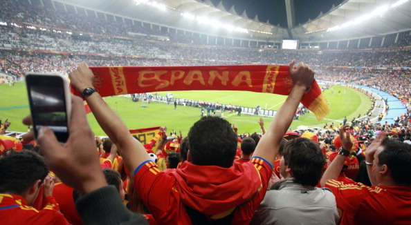 Spain fans celebrate beating Germany 1-0 in the semi-final of the 2010 FIFA World Cup at the Moses Mabhida Stadium ©AFP/Getty Images