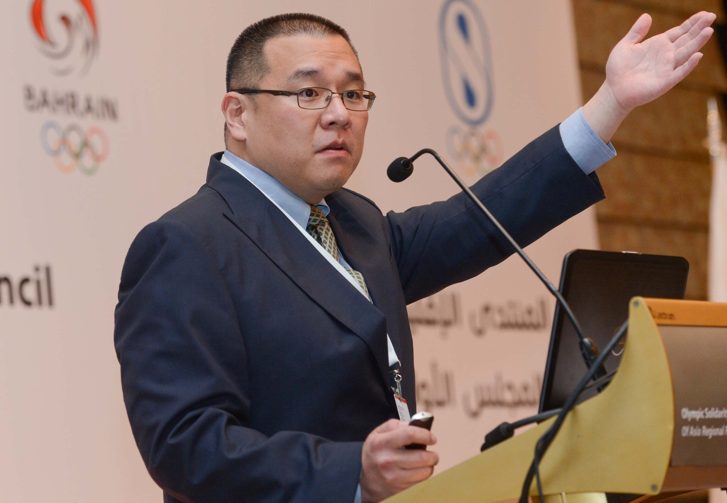 Sungsik Cho providing an update about the Incheon 2014 Asian Games during the OCA Regional Forum ©BOC