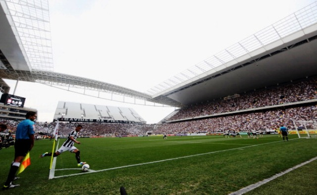 The Arena de Sao Paulo is one of three stadiums in Brazil that have yet to be finished despite three weeks to go until the World Cup starts ©Getty Images