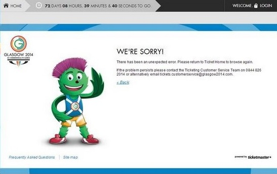 The Glasgow 2014 ticketing website remains closed after multiple problems in recent days ©Glasgow 2014