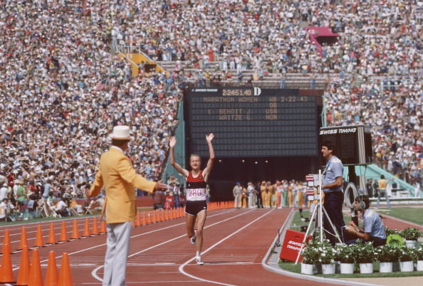 The first women's marathon at an Olympic Games was held in Los Angeles 1984 ©Getty Images