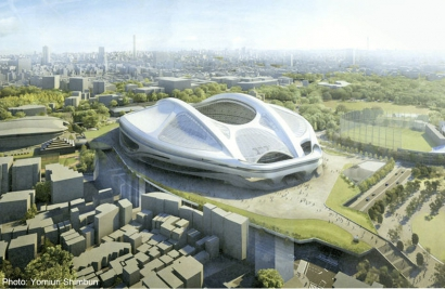 A latest projection of the new National Stadium for the Tokyo 2020 stadium ©Japan Sport Council