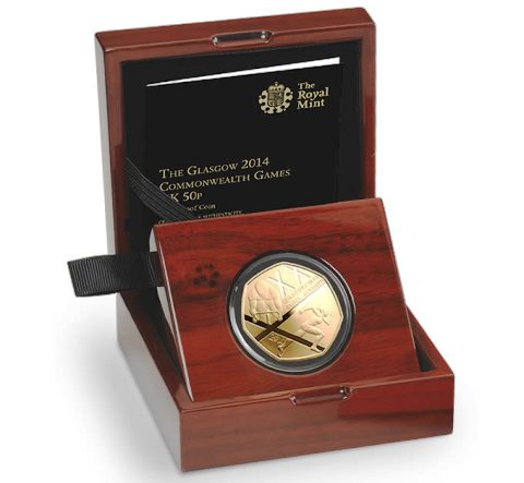 The limited edition gold 50p coin to mark Glasgow 2014 is now available from the Royal Mint ©The Royal Mint