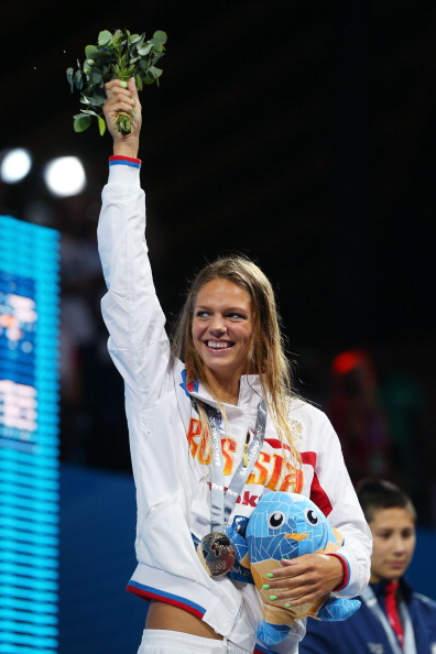Yulia Efimova celebrates her 200m breaststroke gold medal at the 2013 FINA World Championships in Barcelona shortly before her failed test ©Getty Images
