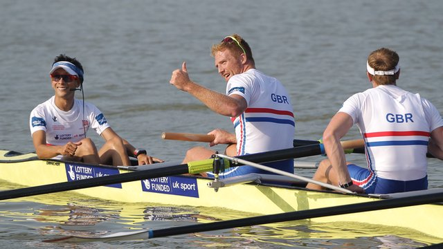 Britain's men's eight celebrate a first win at last year's World Championships. Now the Europeans beckon ©Getty Images