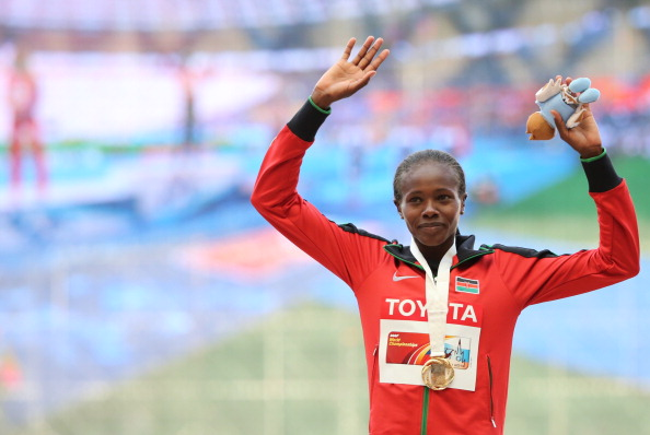 Kenya's Eunice Sum, pictured after her surprise 800m win at last year's IAAF World Championships, believes life bans should be introduced for first-time doping offences ©Getty Images