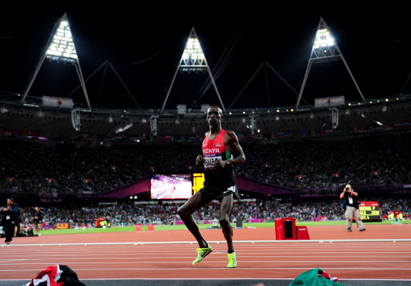 Ezekiel Kemboi, pictured dancing after regaining the Olympic 3000m steeplechase title at London 2012, is opposed to 'plea bargaining' in doping cases and wants life bans introduced ©Getty Images
