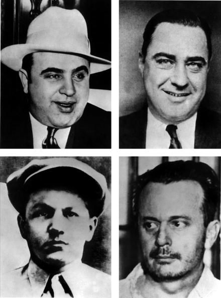 Gangsters during the US Prohibition age - top left, Al Capone, top right, Machine Gun Kelly, bottom left Baby Face Nelson, bottom right Doc Barker ©AFP/Getty Images