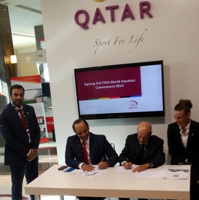 A Memorandum of Understanding was signed by Qatar Olympic Committee secretary general Sheikh Saoud bin Abdulrahman Al-Thani and FINA President Dr Juilo Maglione during the SportAccord International Convention in Belek last month ©ITG