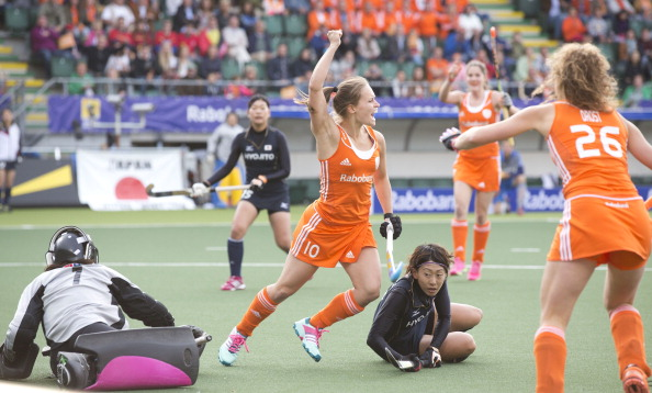 Kelly Jonkers celebrates scoring the first goal in the Netherlands' 3-0 win over Japan at the Hockey World Cup in The Hague ©AFP/Getty Images