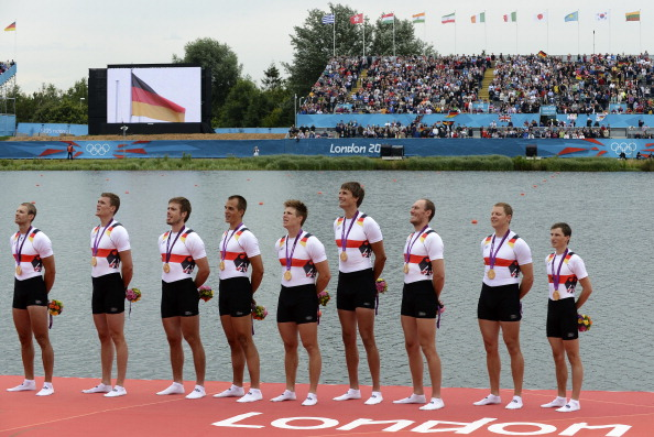 The German men's eight, pictured after winning gold at the London 2012 Games, has set a European best time on the opening day of the European Championships in Belgrade ©AFP/Getty Images