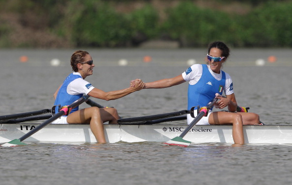 Italy's lightweight women's double sculls world champions Laura Millani and Elisabetta Sancassani are under pressure from Germany in tomorrow's European final ©Getty Images