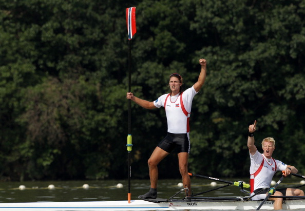 Norway's Nils Jakob Hoff and Kjetil Borch, pictured celebrating their men's double sculls world title last year, are also under pressure from a German crew in today's finals ©Getty Images