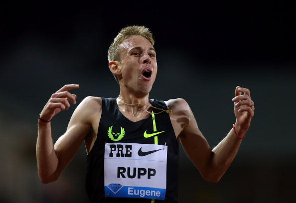 Galen Rupp celebrates his US 10,000m record of 26:44.36 in Eugene ©Getty Images