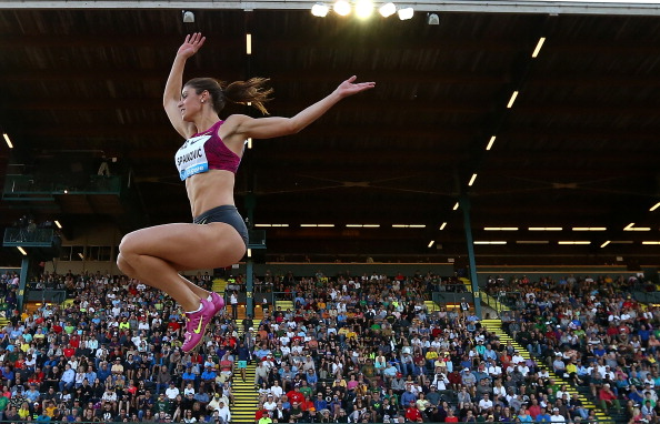 Serbia's Ivana Spanovic wins a dramatic long jump competition at the Diamond League meeting in Eugene thanks to a last effort of 6.88m ©Getty Images