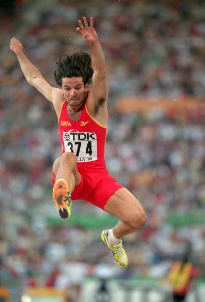 Yego Lamela competing at his home World Championships in Seville, 1999, where he eventually took silver behind Ivan Pedroso of Cuba ©Getty Images