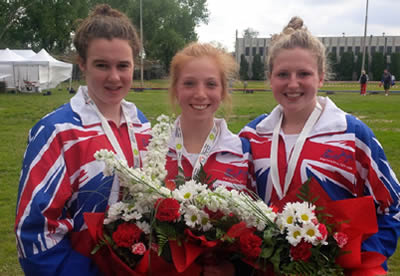 Francesca Summers pictured with her team-mates after winning the recent Modern Pentathlon World Youth A team title ©Pentathlon GB
