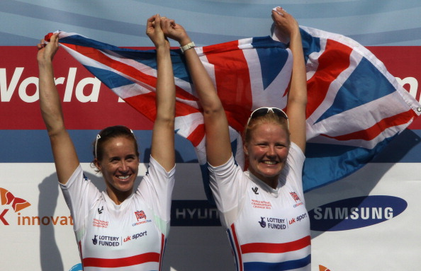 Helen Glover (left) and Polly Swann, pictured after winning the world pairs title last year, will represent Britain at the forthcoming European Championships ©Getty Images