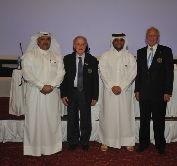 Ali Hal-Itmi, President of the Qatar Gymnastics Federation, FIG President Bruno Grandi, Sheikh Saoud Bin Abdulrahman Al-Thani, secretary general of the Qatar Olympic Committee, and FIG Secretary André Gueisbuhler after it was announced Doha will host the 2018 World Gymnastics Championships ©FIG