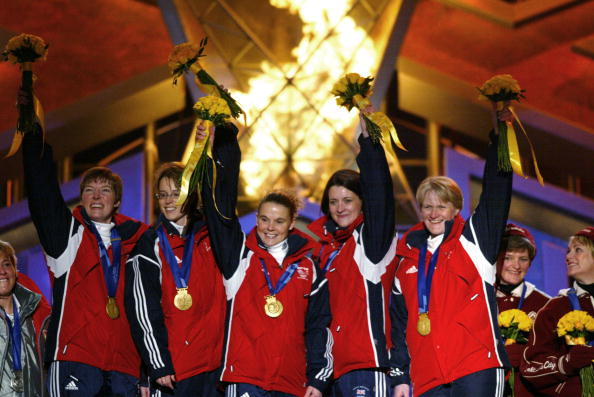 Rhona Martin, pictured far right, at the 2002 Salt Lake Winter Games curling medal ceremony ©Getty Images