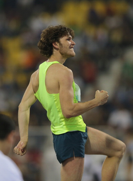 Ivan Ukhov registers his satisfaction after clearing 2.41 in the Doha high jump event ©Getty Images