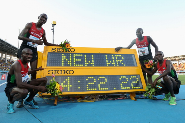Kenya's men celebrate their world 4x1,500m record at the IAAF World Relays in Nassau, The Bahamas ©Getty Images