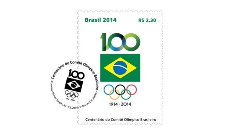 A commemorative stamp was released to mark the 100 years of history of the Brazilian Olympic Committee ©COB