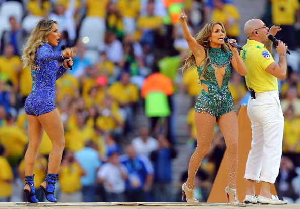 """After """"production issues"""" earleir in the week, Jennifer Lopez (centre) was at the Opening Ceremony with Pitbull and Cláudia Leitte to sing the official World Cup song ©Getty Images"""