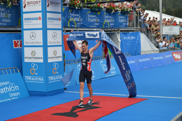 Alistair Brownlee has struggled for full fitness this season but took a significant step towards his Glasgow 2014 ambition by winning a third European title in Kitzbuhel today ©ETU