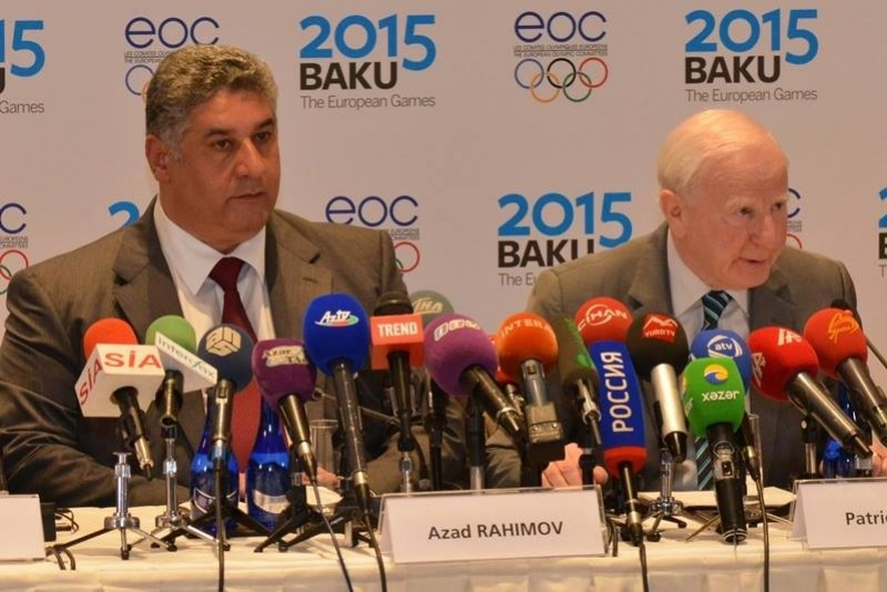 Olympic Council of Ireland President Patrick Hickey, pictured here with Azerbaijan's Sport and Youth Minister Azad Rahimov, is the inspiration behind the launch of the first European Games ©Baku 2015
