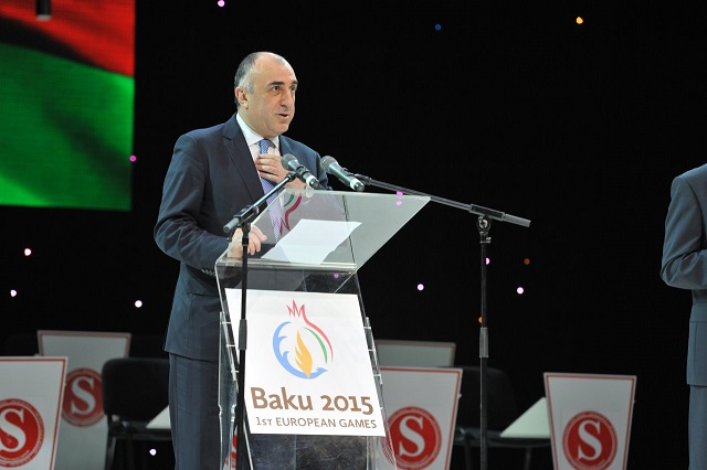 Azerbaijans Minister of Foreign Affairs Elmar Mammadyarov delivered the keynote speech to the audience looking forward to Baku 2015 ©Baku 2015