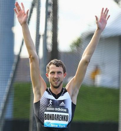 Bohdan Bondarenko acknowledges high jump victory in New York ©Getty Images